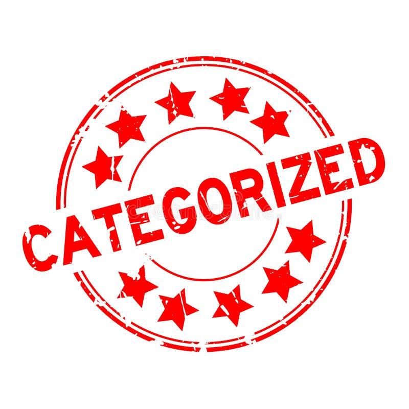 Rött för Grunge som kategoriseras med stämpeln för gummi för stjärnasymbolsrunda på vit bakgrund vektor illustrationer
