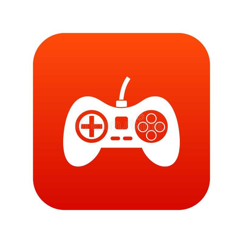 Rött för symbol för videospelkonsolkontrollant digitalt royaltyfri illustrationer