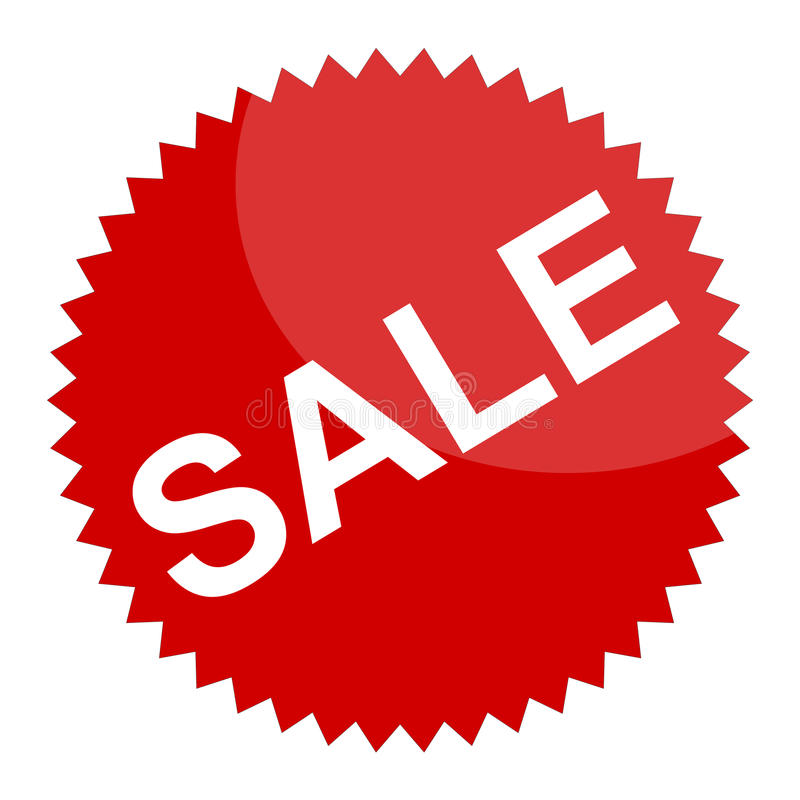 Rött försäljningstecken eller klistermärke arkivbild