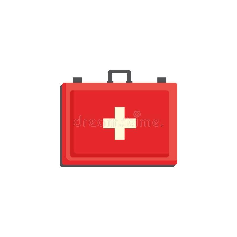 Rött första hjälpensatsfall med korset som isoleras på vit bakgrund - medicinbröstkorg med nödvändiga läkarbehandlingar vektor illustrationer