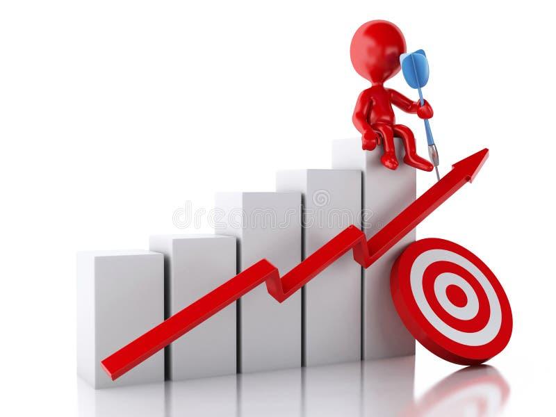 rött folk 3d med grafen för affärsstatistik och rött mål vektor illustrationer