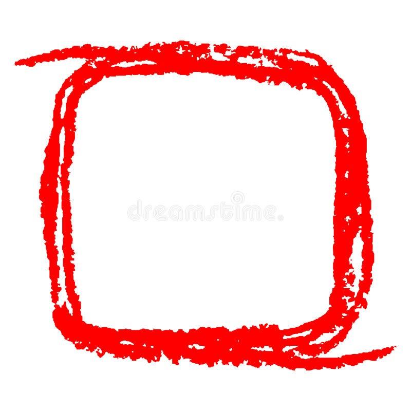 Rött fyrkantigt kopieringsutrymme eller ram med den rektangulära formen för pastellfärgad ljus färg stock illustrationer