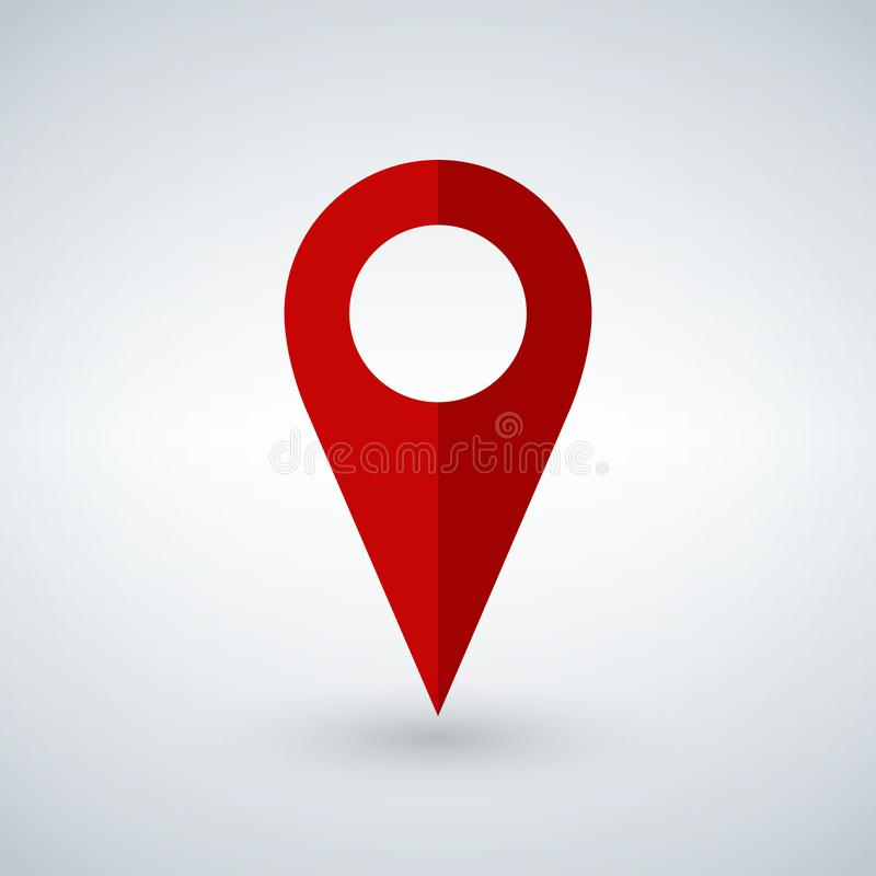Rött geostift som logo med kopieringsutrymme på vit Geolocation och navigering Symbol för mobila och elektroniska apparater, reng royaltyfri illustrationer