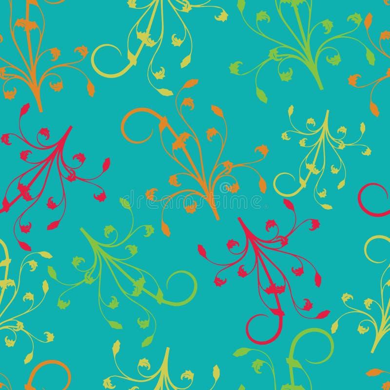 Rött gult, apelsin, gröna filialer på seameless repetition för turkosbakgrund vektor illustrationer