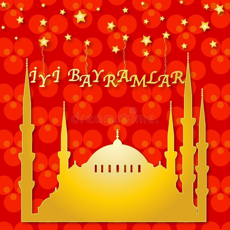 Rött hälsningkort med moskén royaltyfri illustrationer