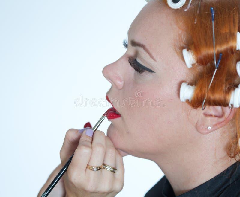 Rött hårflickasmink arkivbilder