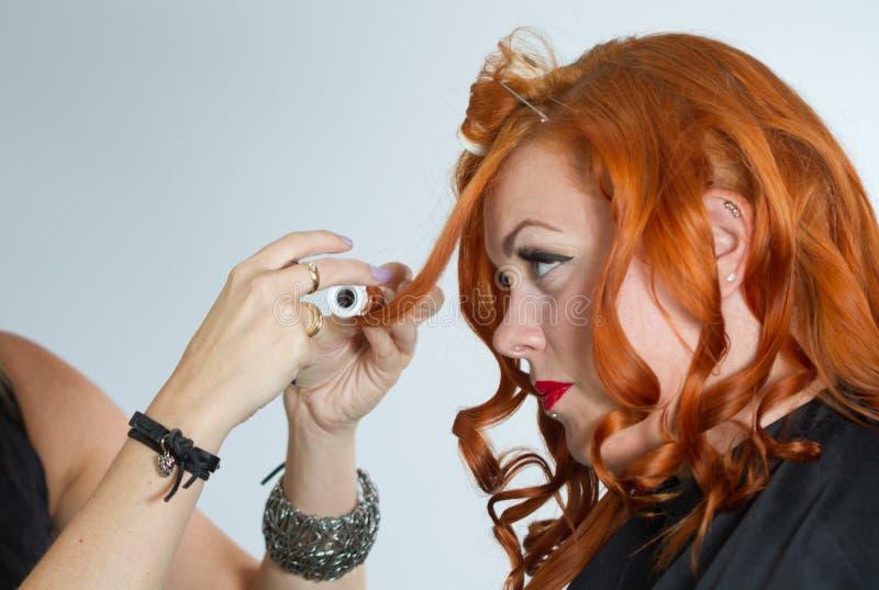 Rött hårflickasmink arkivfoto