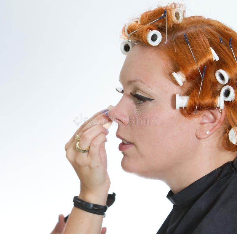 Rött hårflickasmink royaltyfri fotografi