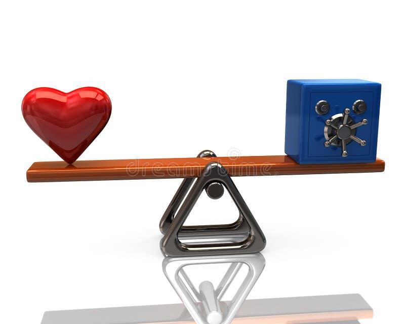 Rött hjärta- och blåttsäkerhetskassaskåp på våg royaltyfri illustrationer