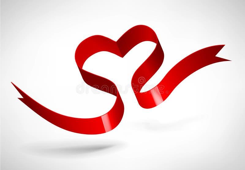 Rött hjärtaband royaltyfri illustrationer
