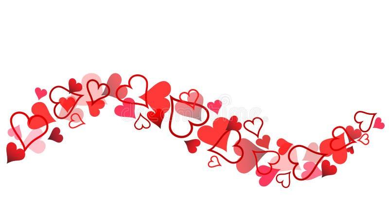 Rött hjärtabaner för dag för valentin` s på vit, materielvektor dåligt stock illustrationer