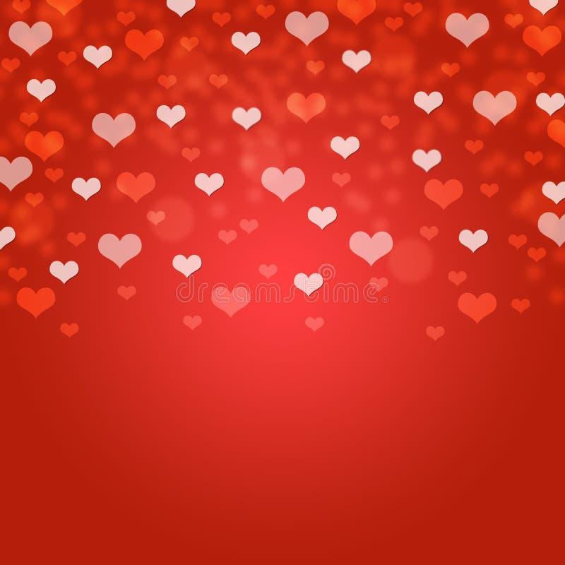Rött hjärtabokehkort/textur/bakgrund arkivbild