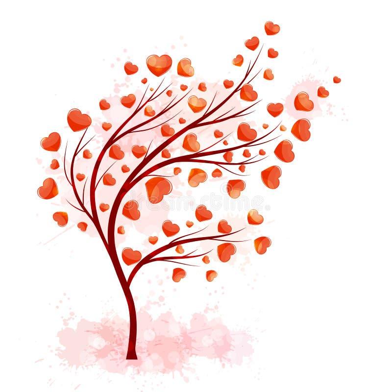 Rött hjärtaträd för garneringdesign Vektorillustration för lycklig valentindag royaltyfri illustrationer