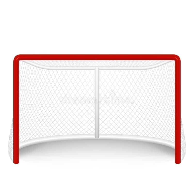 Rött hockeymål för vektor som är netto På white vektor illustrationer