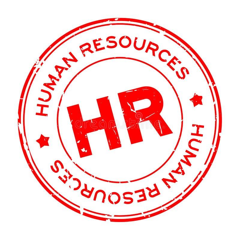 Rött HR-ord Förkortning av mänskliga resurser runt gummistämpel på vit bakgrund vektor illustrationer