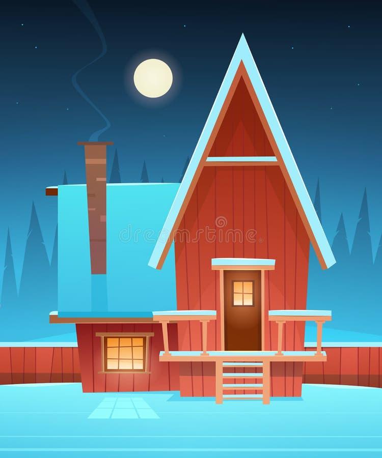 Rött hus för tecknad film i snö royaltyfri illustrationer