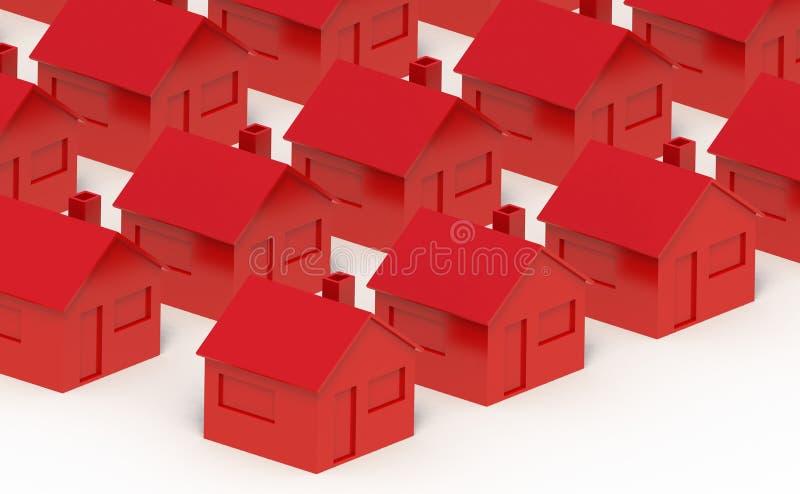 Rött hus på en vit bakgrund arkivbilder
