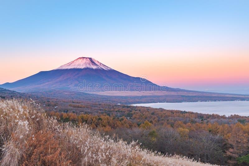 Rött huvud Beni Fuji på sjön Yamanaka under soluppgångsikten fr fotografering för bildbyråer