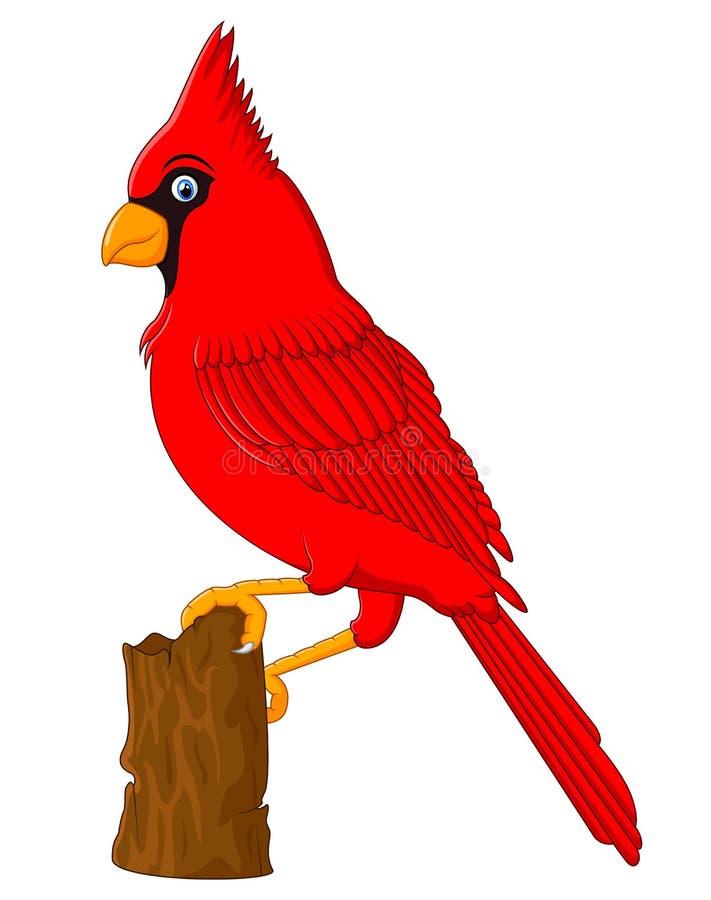 Rött huvudsakligt sammanträde på en trädfilial vektor illustrationer