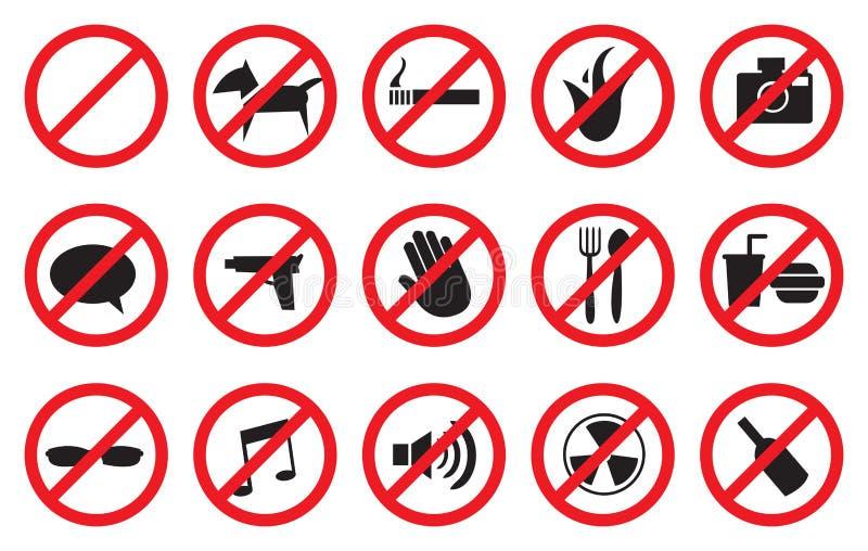 Rött inga tecken och anti-symboler för förbjudna aktiviteter stock illustrationer