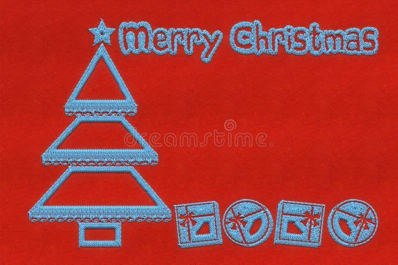 Rött julhälsningkort med broderi royaltyfri illustrationer