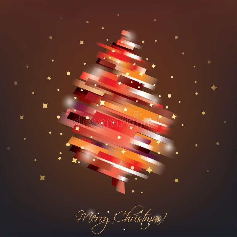 Rött julträd i modernt vibrerande stilsymbol fotografering för bildbyråer