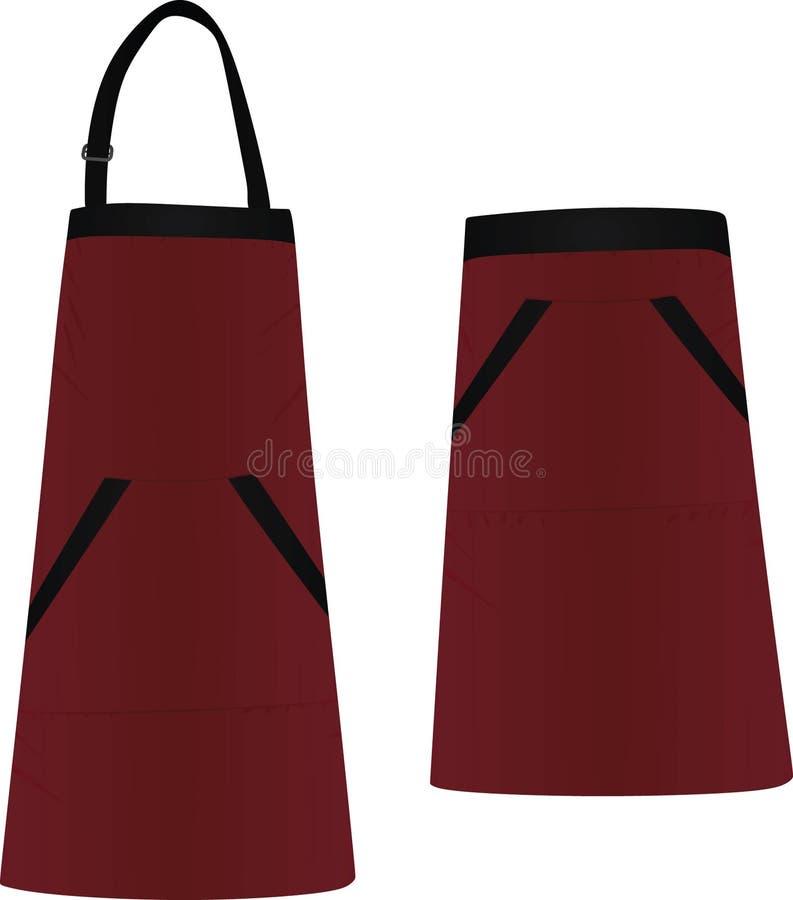 Rött kökförkläde stock illustrationer