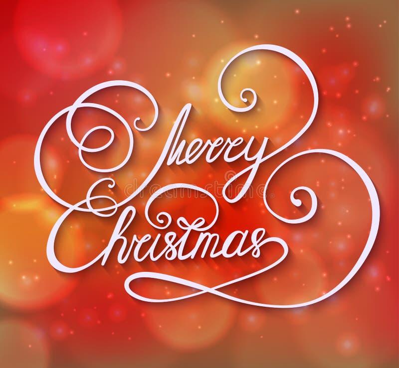 Rött kort eller inbjudan för hälsning för glad jul för vinter vektor illustrationer