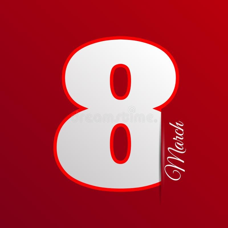 Rött kort eps 10 för kvinnadag8 marsch royaltyfri illustrationer