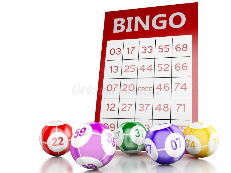 rött kort för bingo 3d med bingobollar royaltyfri illustrationer