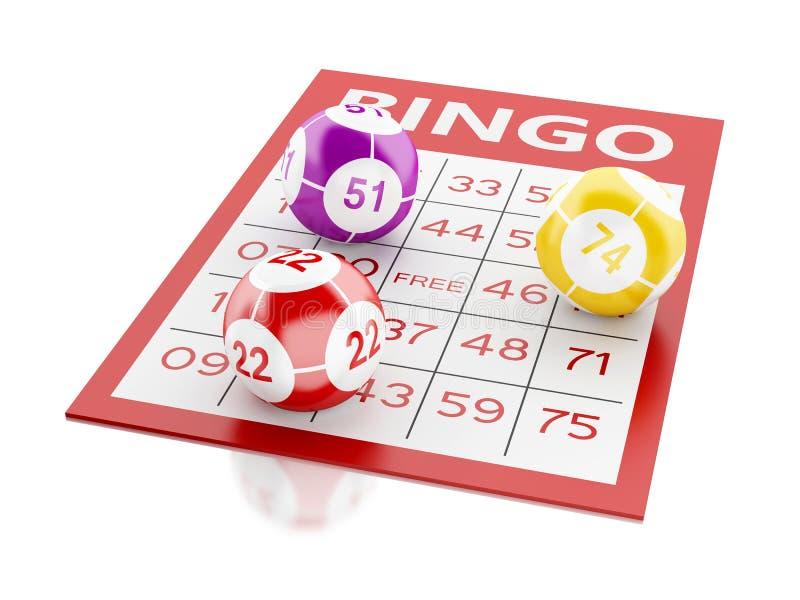 rött kort för bingo 3d med bingobollar vektor illustrationer