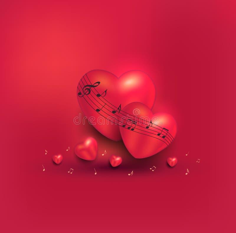 Rött kort för hälsning för musik för hjärtaförälskelseanmärkning vektor illustrationer