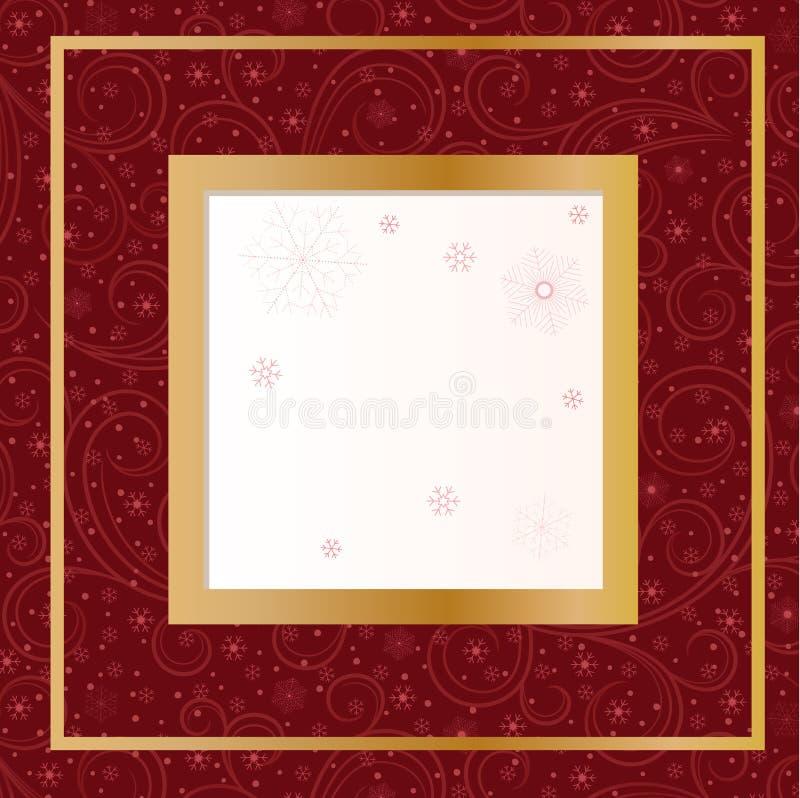 Rött Kort Med Snowflakes Arkivbilder