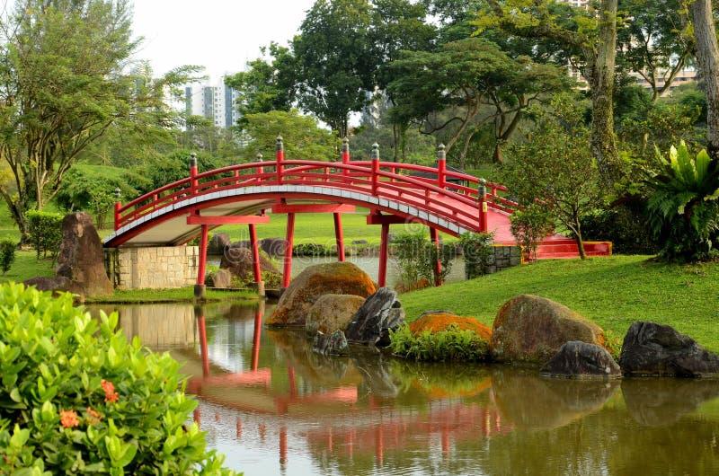Rött krökt överbryggar, & japanträdgården strömmer arkivfoto