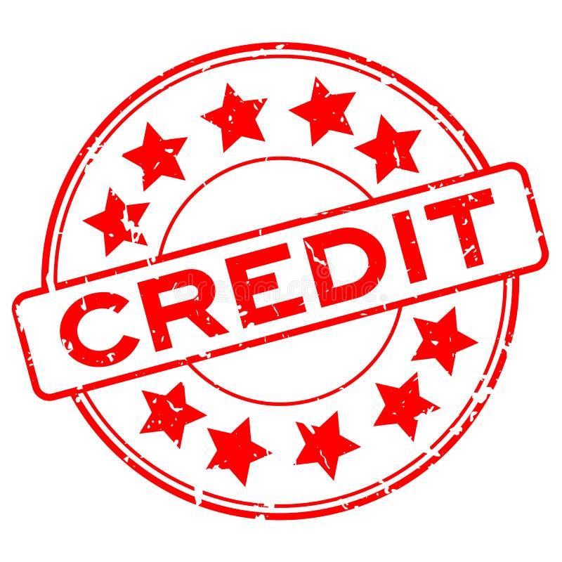 Rött krediteringsord för Grunge med stämpeln för skyddsremsa för stjärnasymbolsgummi på vit bakgrund vektor illustrationer