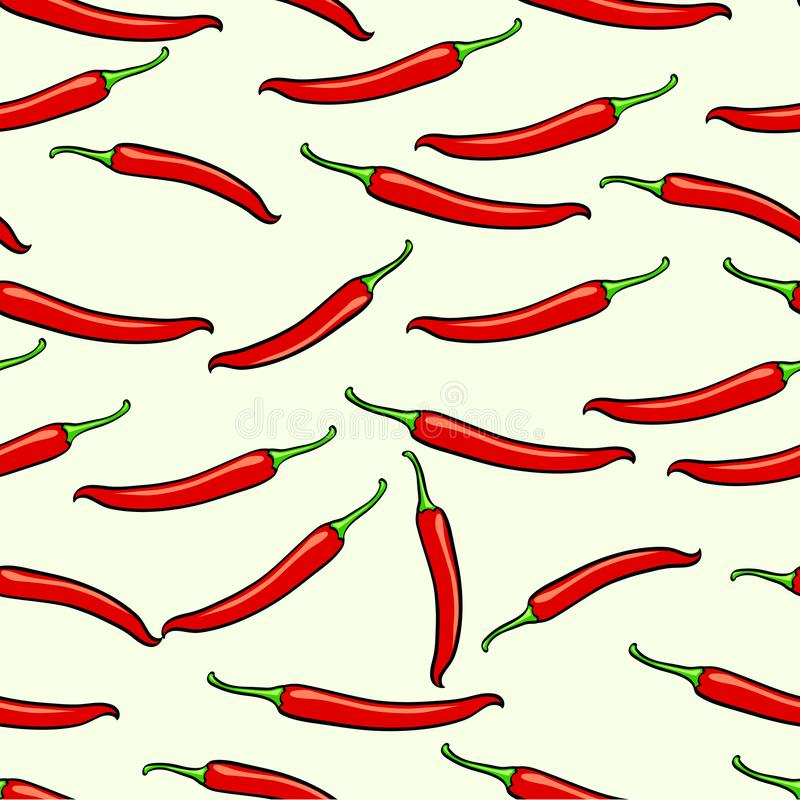 Rött kryddigt, georgiskt, chilipeppar Sömlös rasterbakgrund royaltyfri illustrationer