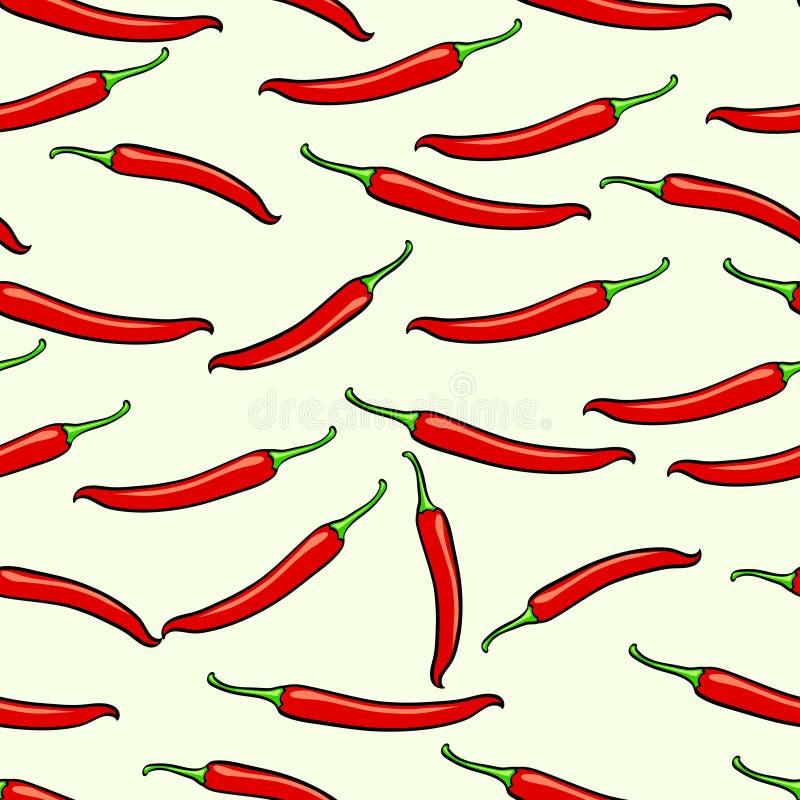 Rött kryddigt, georgiskt, chilipeppar seamless vektor för bakgrund vektor illustrationer