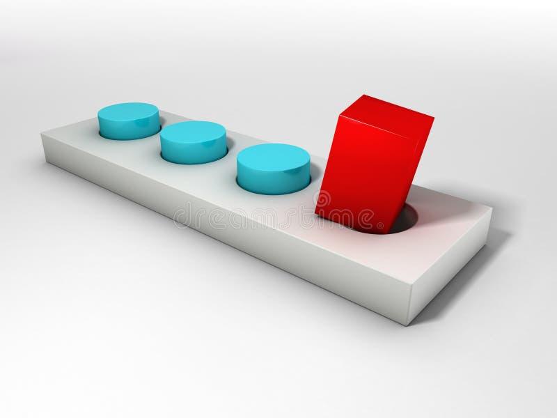 Rött kvadrera fixerar, och en runda spela golfboll i hål arkivbild
