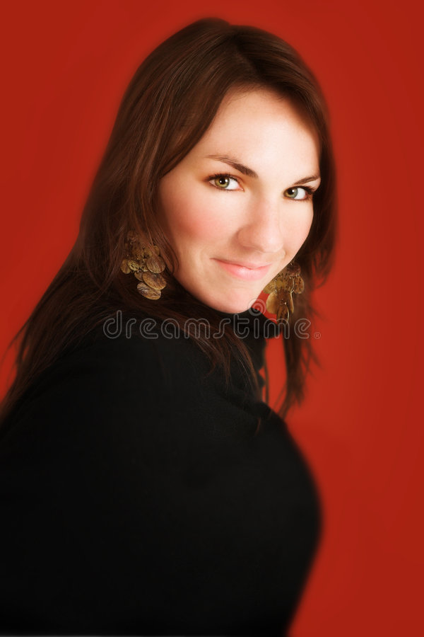 Download Rött kvinnabarn fotografering för bildbyråer. Bild av long - 988721