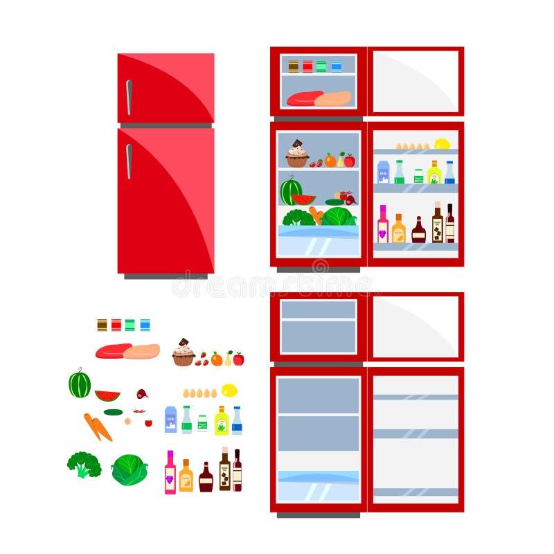 Rött kylskåp med produkter royaltyfria bilder