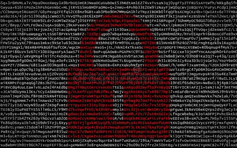 Rött lås över kodad text royaltyfri bild
