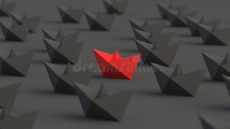 Rött ledarefartyg royaltyfri illustrationer