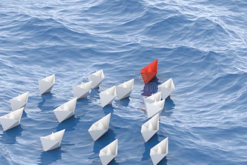 Rött ledarefartyg stock illustrationer
