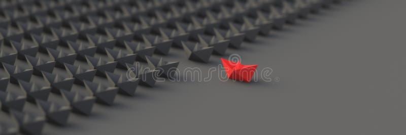 Rött ledarefartyg vektor illustrationer