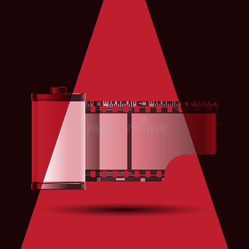 Rött ljusrulle av filmen royaltyfri illustrationer