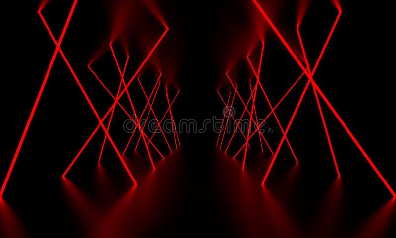 Rött ljust glöd för laser i det mörka rummet illustration 3d royaltyfri bild
