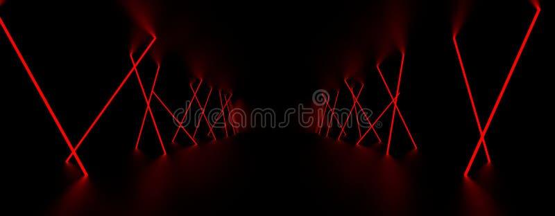 Rött ljust glöd för laser i det mörka rummet illustration 3d vektor illustrationer