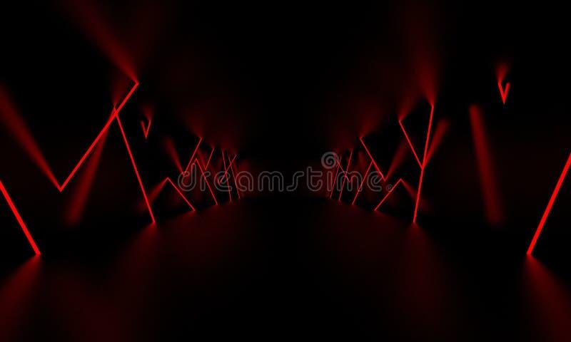 Rött ljust glöd för laser i det mörka rummet illustration 3d stock illustrationer