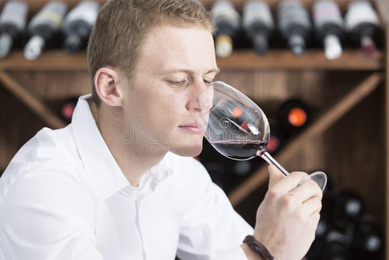 rött lukta winebarn för glass man arkivbilder