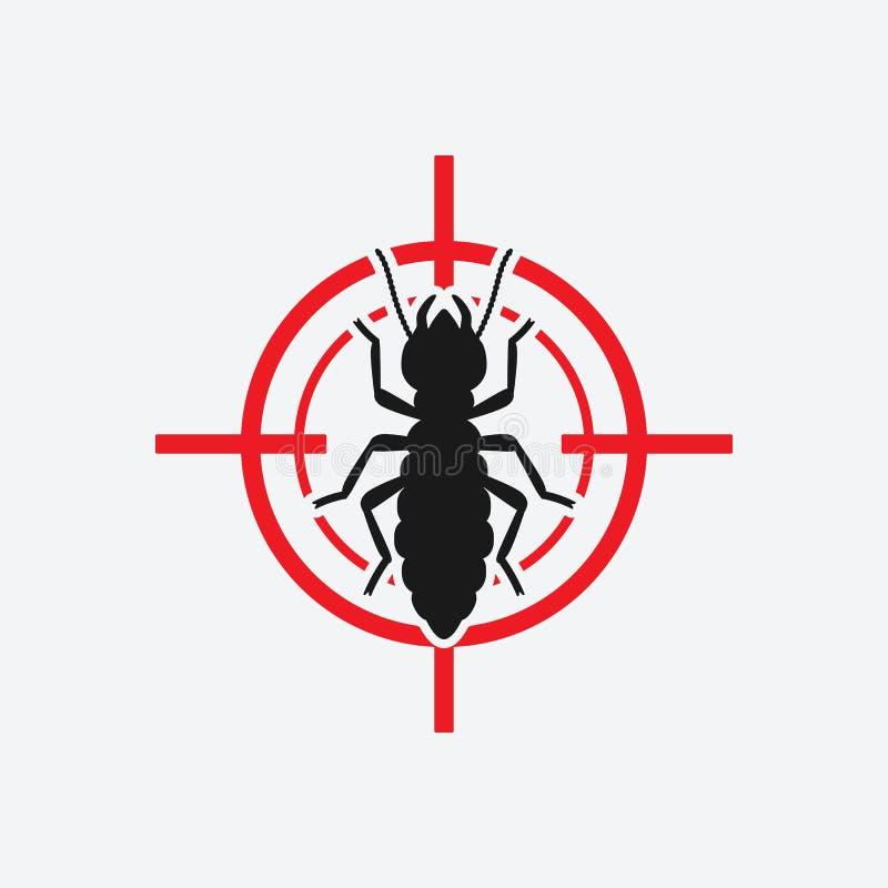 Rött mål för termitsymbol Tecken för krypplågakontroll stock illustrationer